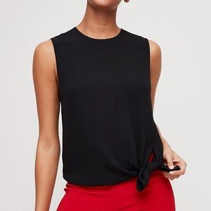 Aritzia Babaton Hopkins Tie-Front Blouse Black NWT Sz L